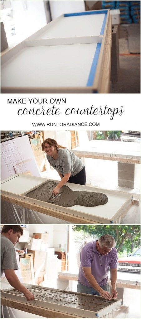 DIY concrete countertops from start to finish! This tutorial shows you exactly how to build and pour your own concrete counters. I love how they turned out- and they only cost a few hundred! Going to try this one for sure.