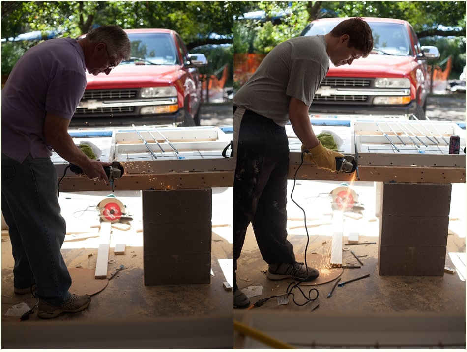 Cutting rebar with a handheld saw for cement molds.