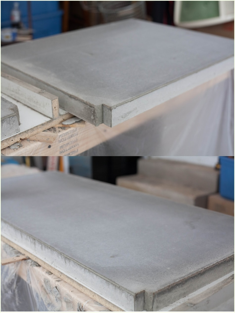 Smooth, gray cement counter top sections.