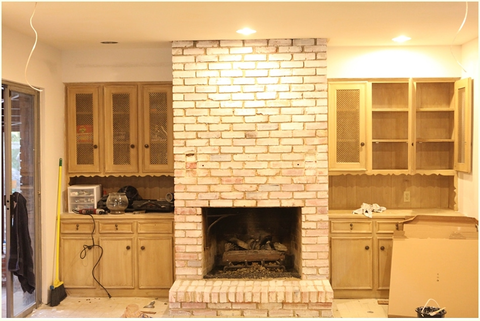 Fireplace Design painting brick fireplace white : DIY White Washing Fireplace - Run To Radiance