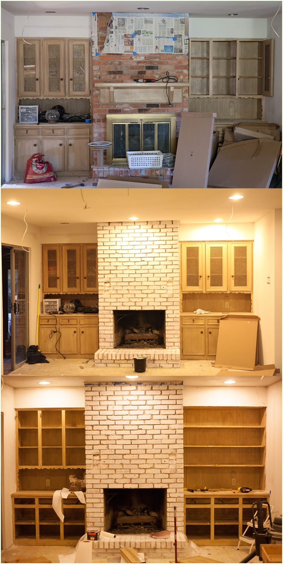 DIY White Washing Fireplace - Run To Radiance