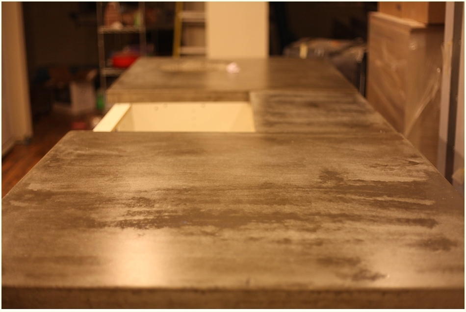 Shiny countertop surface after one road of sealant application.