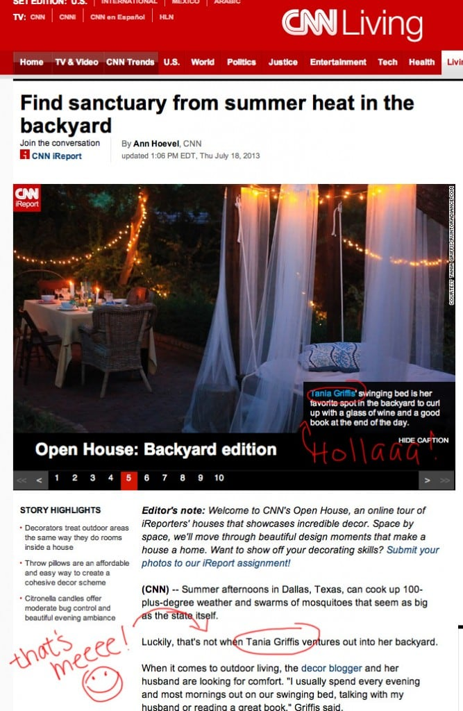 Screenshot of an article from CNNLiving featuring an outdoor bed