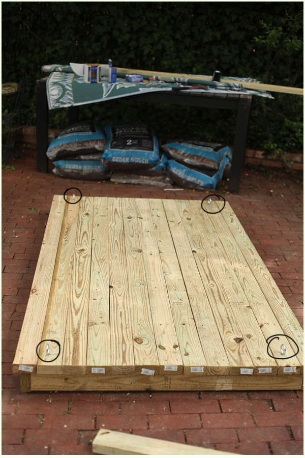 Outdoor swinging bed the final pics before and after diy - How to build a hanging bed ...