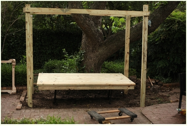 How to build a hanging bed easy diy outdoor swing bed to for Diy patio bed