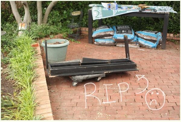 Broken outdoor bench