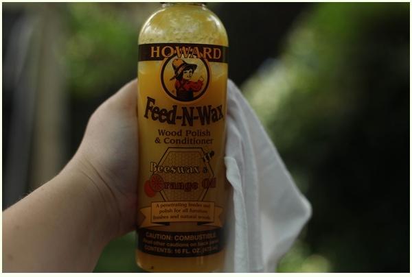 Bottle of Howard Feed-N-Wax with rag