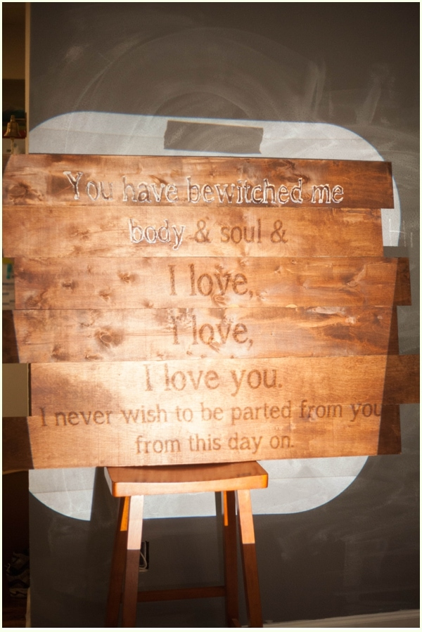 Wooden wall art canvas with book quote with letters partially painted in.
