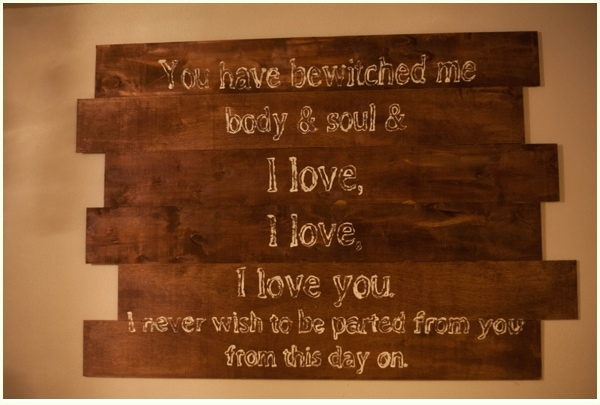 Halloween wall art for the romantic, featuring Pride and Prejudice quote in white painted letters.