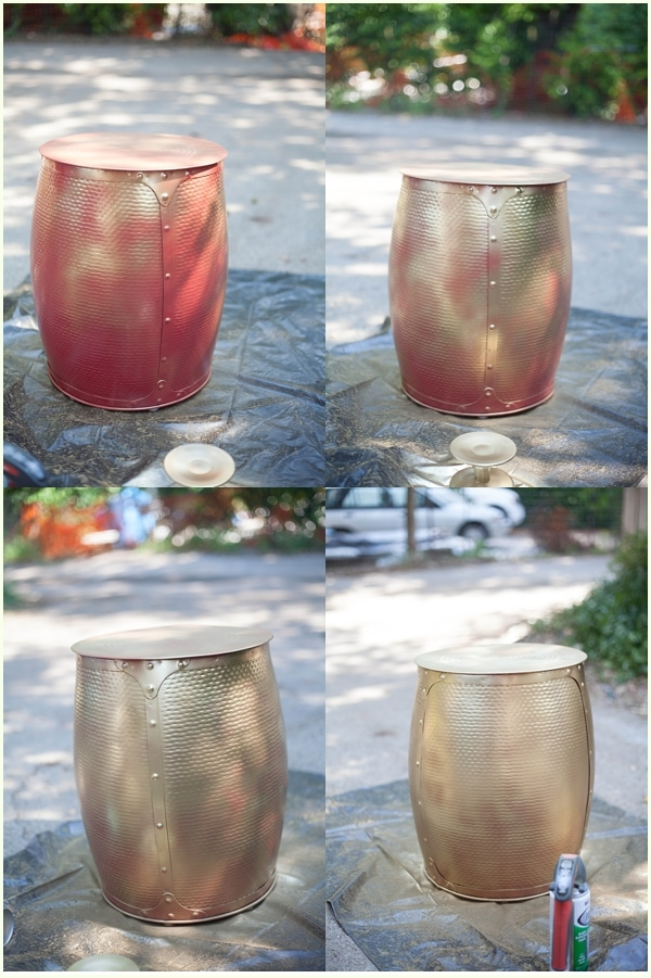 A collage showing the 4 coats of gold spray paint on a red stool