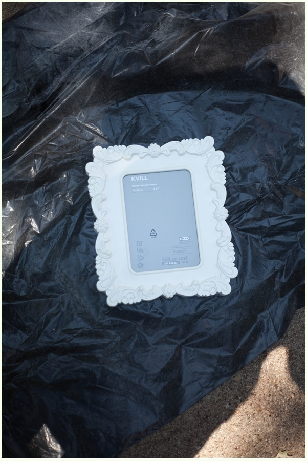 A plastic white picture frame from IKEA