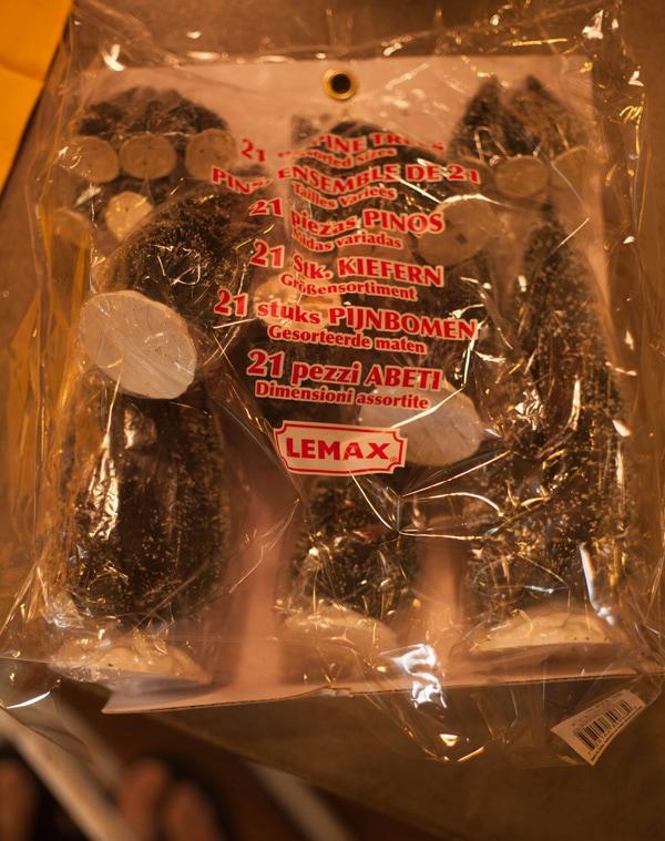 Package of bottle brush Christmas trees