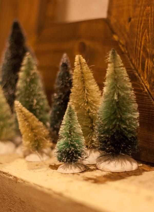 bottle brush Christmas tree forest