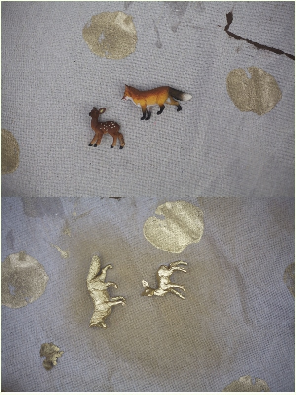split image of fox and deer figurines before and after being spray painted gold- decorating Christmas gifts for coworkers