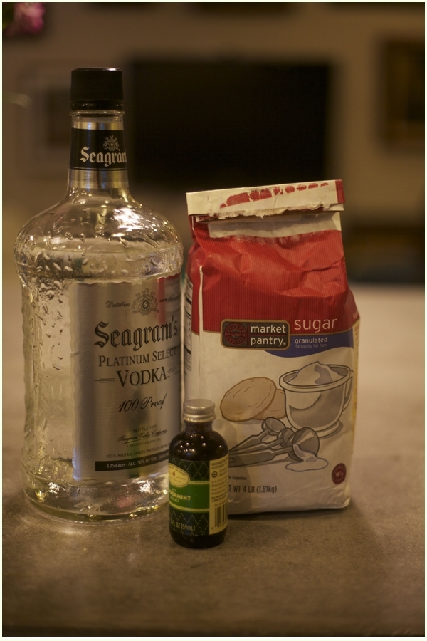 Vodka, sugar and peppermint extract on a concrete counter-ingredients to make peppermint vodka