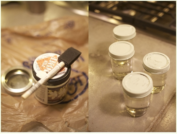 Side by side of the paint used to decorate mason jars- gifts of peppermint vodka for coworkers