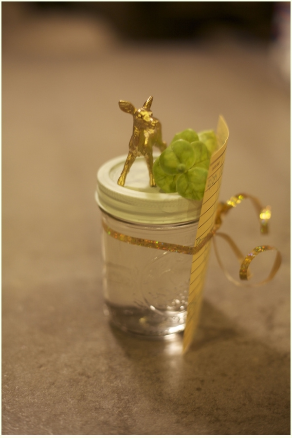 Image of golden deer on mason jar- Decorating Christmas gifts for adults - Homemade peppermint vodka