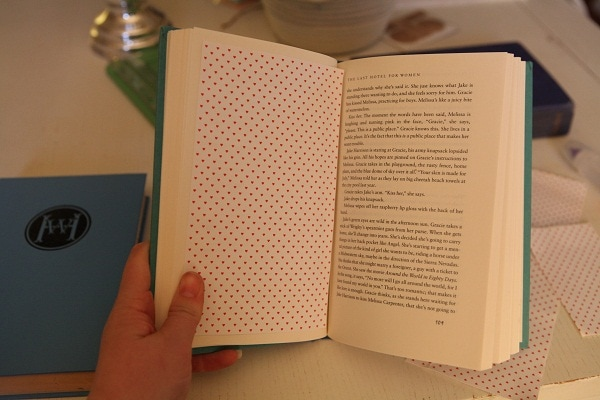 Polkadotted cardstock pasted into a chapter book