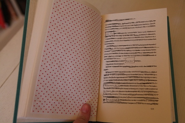 Quotes circled on the pages of a hardback book