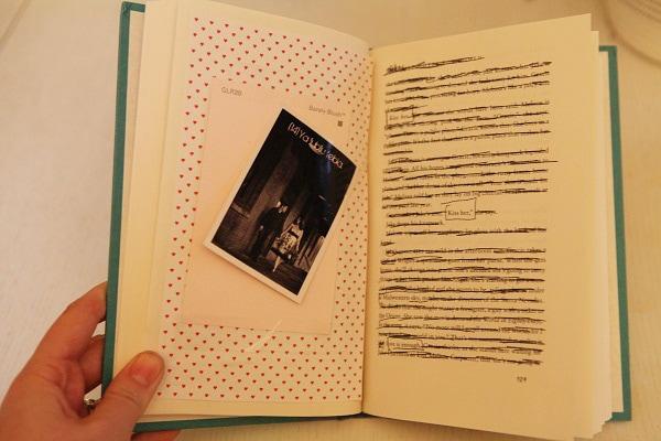 A book turned into a DIY photo album.