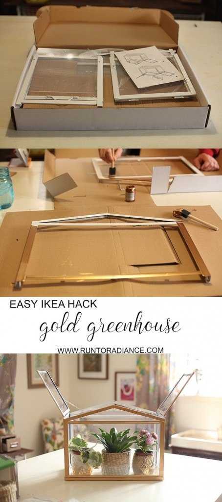 This DIY Gold Mini Greenhouse from Ikea is so cute! It only takes 30 minute total to complete and costs less than $30. Perfect Spring Ikea hack! I'm ready for some spring gardening -also cute for succulents.