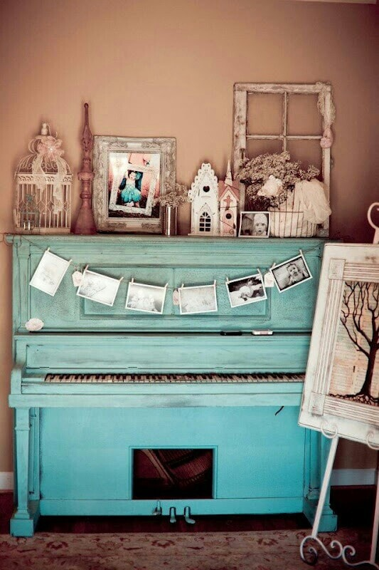 blue decorated piano