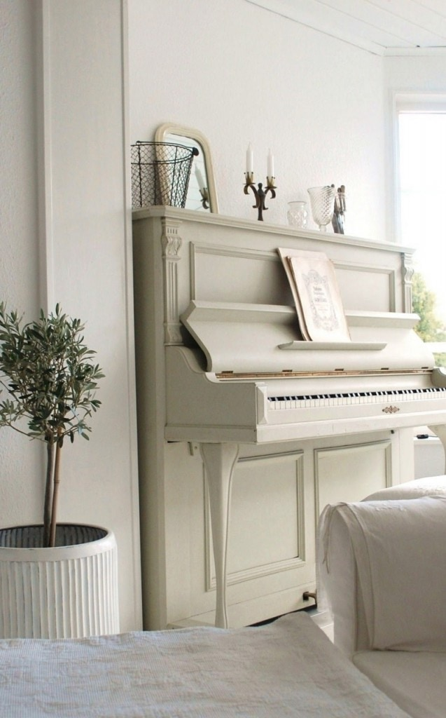 painted white piano