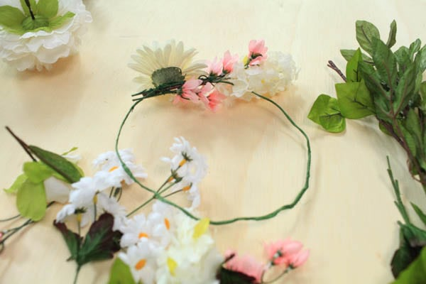 DIY flower crown with faux flowers attached.