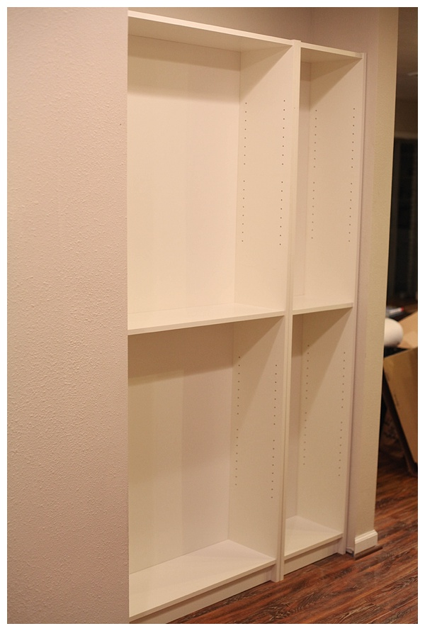 IKEA Hack Billy Bookcase - Kitchen Pantry using Ikea bookcase. Believe it or not this works better as a kitchen pantry than its intended use.