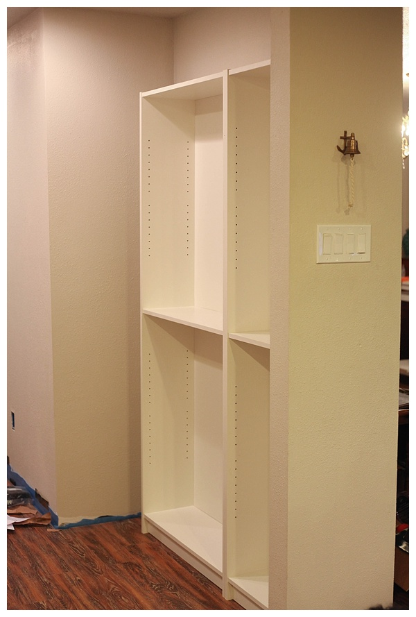 IKEA pantry Hack using Billy Bookcases - Kitchen Pantry using Ikea bookcase. Believe it or not this works better as a kitchen pantry than its intended use.