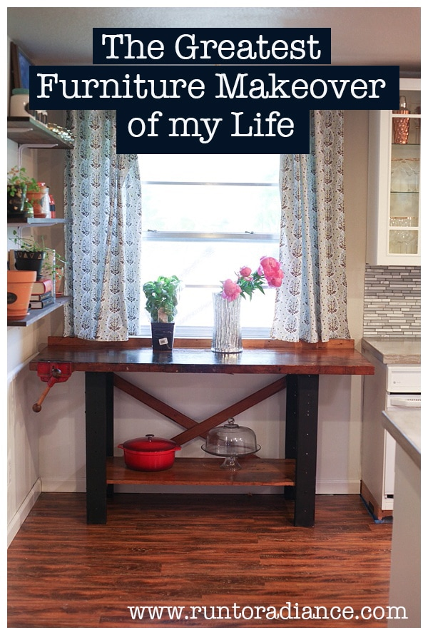 Furniture makeover of vintage workbench