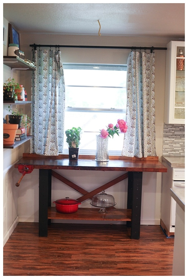 Makeover of an old wooden work table.