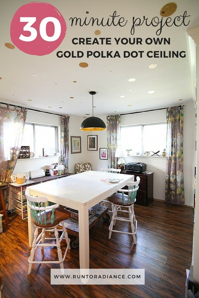 30 minute project - create your own gold polka dot ceiling