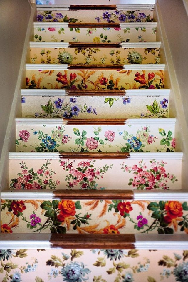 stairs with vintage wallpaper