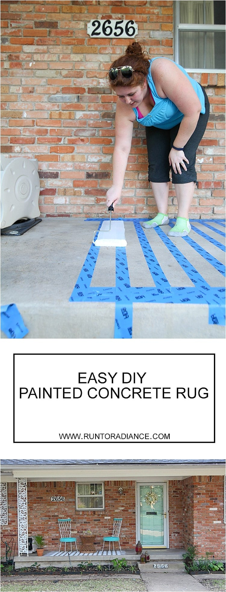 This is an easy way to do a porch makeover. Painting concrete is a fast, cheap way to update any concrete porch!