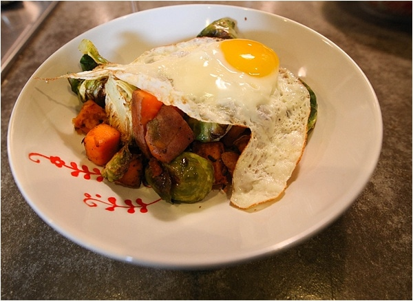 Healthy Quick Meals—Sweet Potato, Brussels Sprouts & Egg