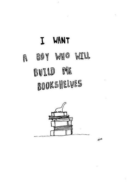 I want a boy who will build me bookshelves