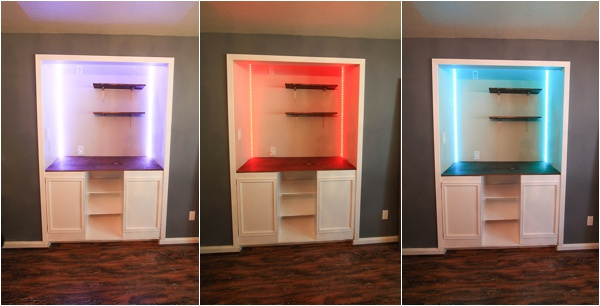 Colored Light Strips In Custom Built Cabinets