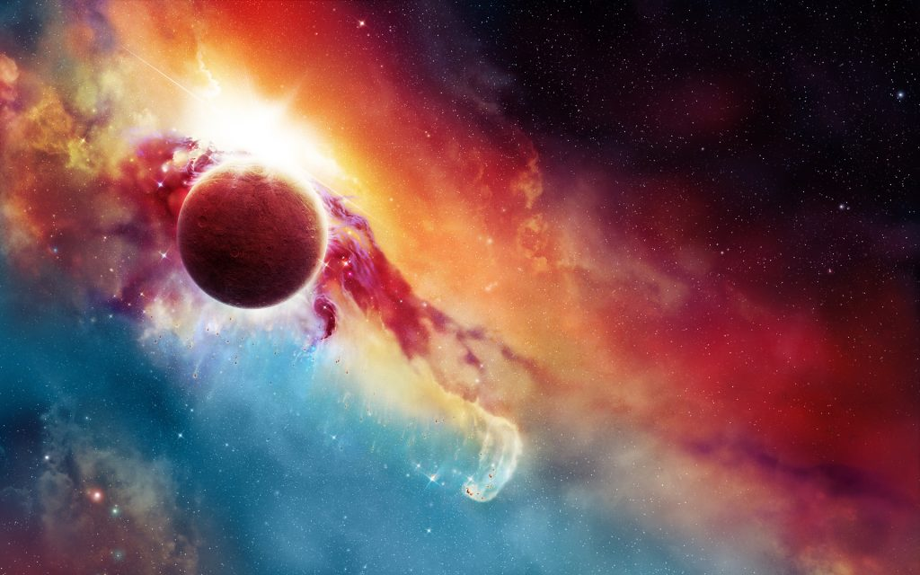 Pretty outer space wallpaper HD style with planet or moon with colorful sky