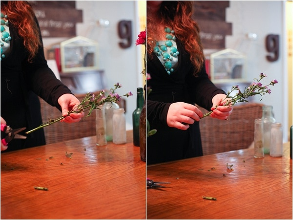 Cut fresh flowers at a 45-degree angle so they display on the table best.