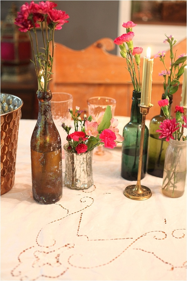 Candles and flowers on a romantic table setting