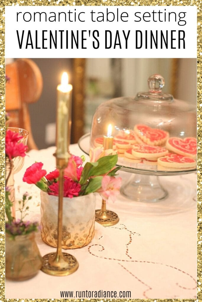 pinterest image for DIY Romantic Valentine's Day Table Setting