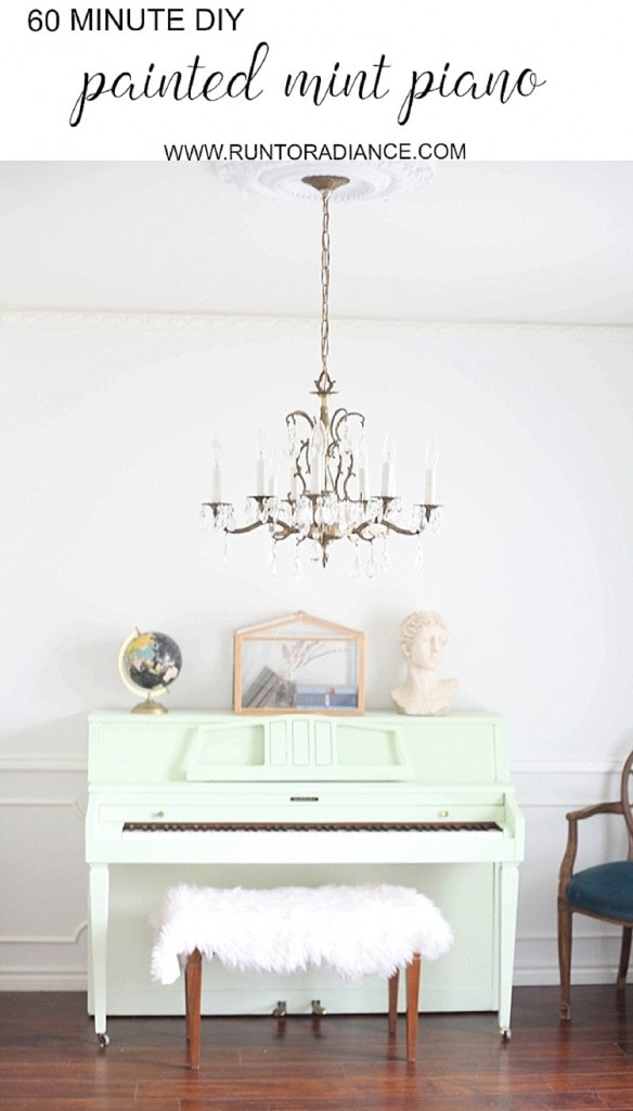 Okay, I am super inspired! I totally want to paint my piano now! This makeover turned out so great, looks easy and I am obsessed with the mint color!