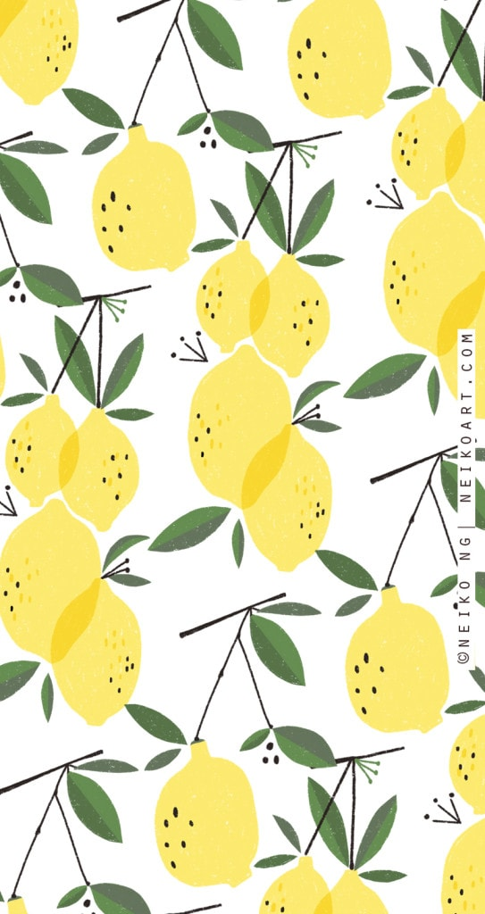cute phone backgrounds with illustrated lemons
