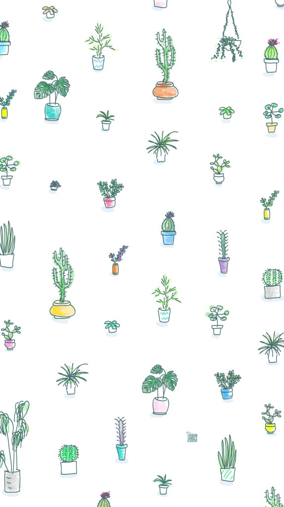 Free iphone wallpaper with watercolor hand drawn cacti