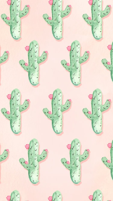 Free iphone wallpapers with watercolored cacti blooming pink flowers on a millennial pink background