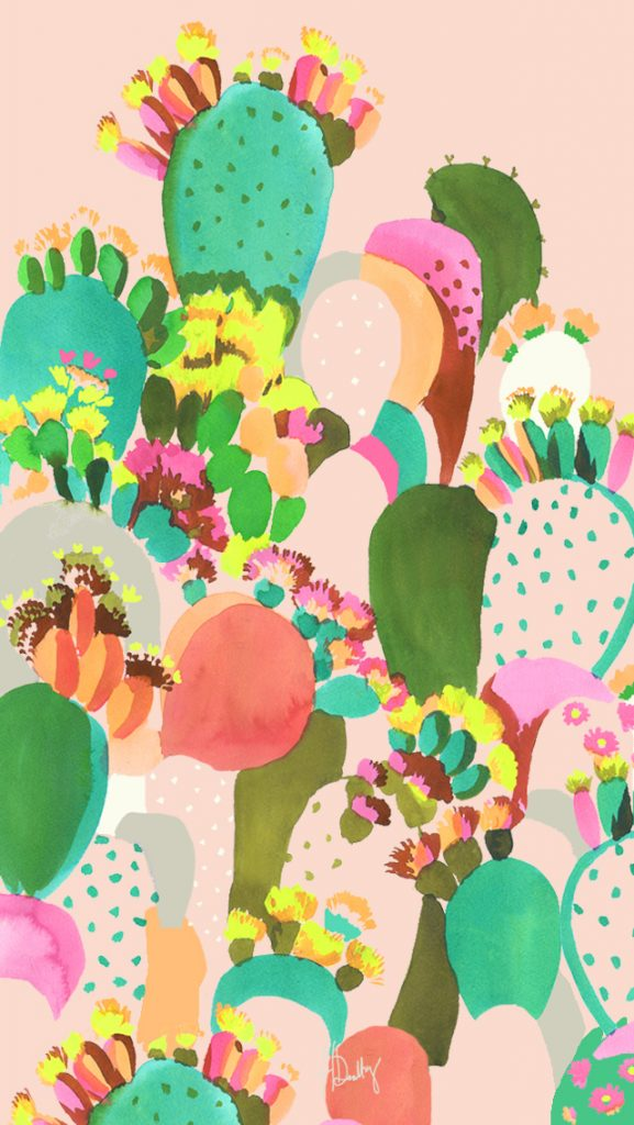 Cute cactus wallpaper with pastel colors - all painted