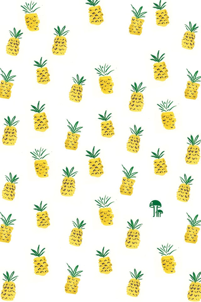 Free iphone wallpaper with hand drawn pineapple pattern