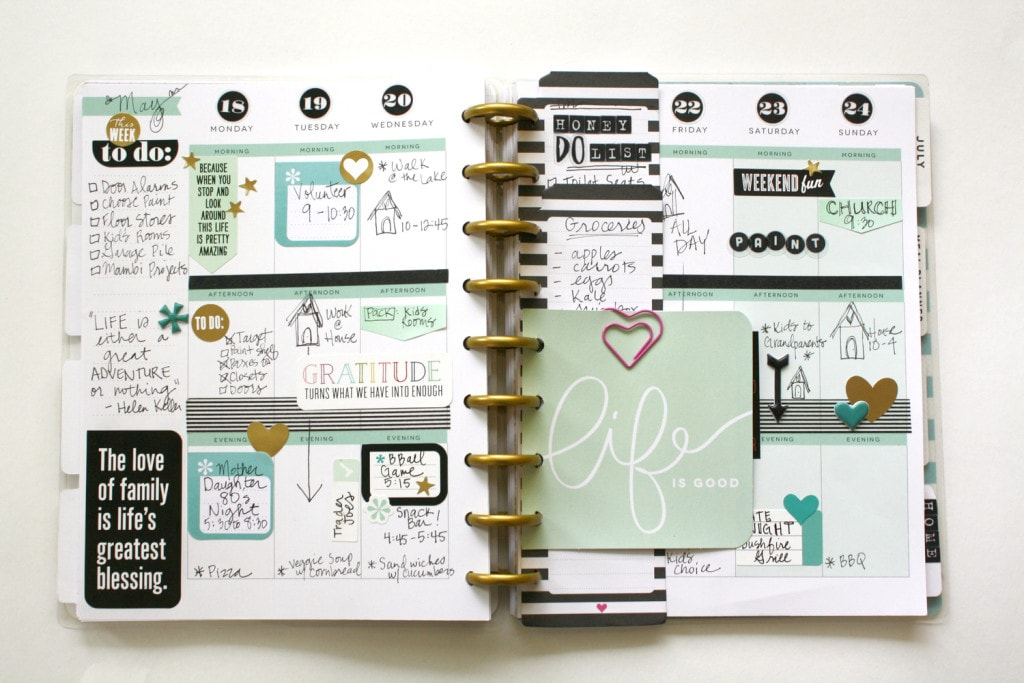 mint and black planner