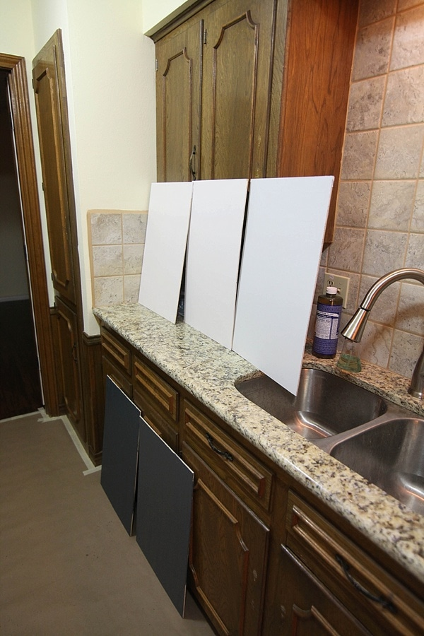 Navy And White Painted Kitchen Cabinets